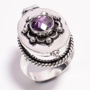 NWOT Ametyst Sterling Silver Poison Ring Sz 9.5